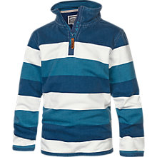 Buy Fat Face Boy's Striped Half Zip Top, Blue Online at johnlewis.com