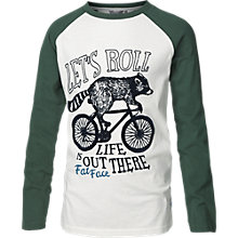 Buy Fat Face Boy's Racoon Raglan T-Shirt, Ecru/Forest Green Online at johnlewis.com