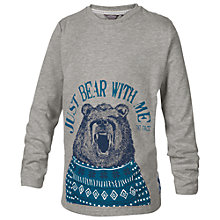 Buy Fat Face Boys' Bear Print Long Sleeve T-Shirt, Grey Online at johnlewis.com