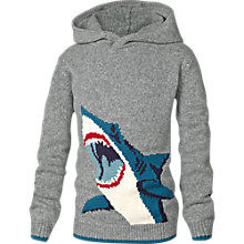 Buy Fat Face Boy's Shark Hooded Jumper, Grey Online at johnlewis.com