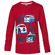 Buy Fat Face Boys' Long Sleeve Life T-Shirt, Red Online at johnlewis.com