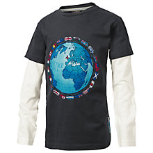 Buy Fat Face Boys' World Print Long Sleeve 2 In 1 T-Shirt, Black/White Online at johnlewis.com
