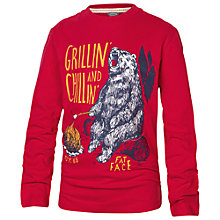 Buy Fat Face Boys' Bear Print Long Sleeve T-Shirt, Red Online at johnlewis.com