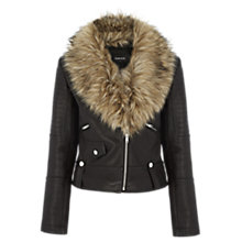 Buy Warehouse Luxe Faux Fur Trim Biker Jacket Online at johnlewis.com
