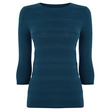Buy Warehouse Stitch Front Jersey Top, Turquoise Online at johnlewis.com