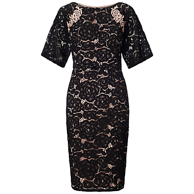 Adrianna Papell Embroidered Juliet Lace Sheath Dress, Black/Pale Pink