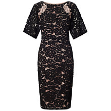 Buy Adrianna Papell Embroidered Juliet Lace Sheath Dress, Black/Pale Pink Online at johnlewis.com