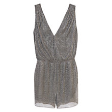 Buy Mango Short Metallic Jumpsuit, Black Online at johnlewis.com