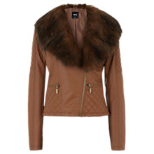 Buy Oasis Faux Fur Collar Biker Jacket Online at johnlewis.com