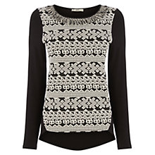 Buy Oasis Tuffty Trim Jacquard Jumper, Black/White Online at johnlewis.com