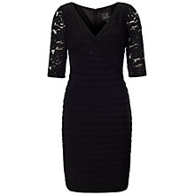 Buy Adrianna Papell Strapped Lace With Banded Jersey Dress, Black Online at johnlewis.com