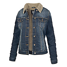 Buy Fat Face Borg Lined Dark Denim Jacket, Denim Online at johnlewis.com