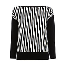 Buy Karen Millen Wool Lightweight Pattern Jumper, Black/White Online at johnlewis.com
