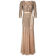 Buy Adrianna Papell Beaded Godet Gown, Taupe/Pink Online at johnlewis.com