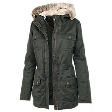 Buy Fat Face Poole Faux Fur Hooded Jacket, Green Online at johnlewis.com