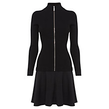 Buy Karen Millen Skinny Rib Knit Contrast Skirt Dress, Black Online at johnlewis.com