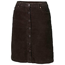 Buy Fat Face Cord Button Through Skirt, Brown Online at johnlewis.com