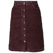 Buy Fat Face Cord Button Through Skirt, Purple Online at johnlewis.com