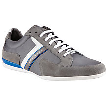 Buy BOSS Green Spacit Leather Trim Trainers, Light Grey Online at johnlewis.com