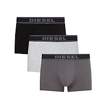 Buy Diesel Shawn Touch of Denim Trunks, Pack of 3, Grey/Black Online at johnlewis.com