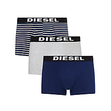 Buy Diesel Shawn Stripe Trunks, Pack of 3, Blue/Grey Online at johnlewis.com