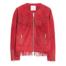Buy Mango Fringed Suede Jacket Online at johnlewis.com