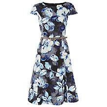 Buy Kaliko Shadow Leaf Ottomon Dress, Multi/Blue Online at johnlewis.com