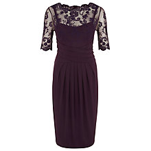 Buy Kaliko Lace and Jersey Dress, Dark Purple Online at johnlewis.com