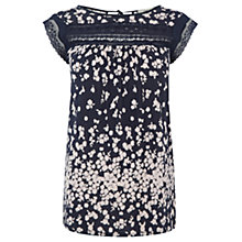 Buy Oasis Lace Trim Floral Stripe Top, Navy Online at johnlewis.com