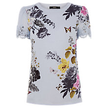 Buy Oasis Placement Floral Lace T-Shirt, Multi Online at johnlewis.com