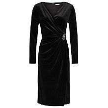 Buy Jacques Vert Velvet Wrap Cocktail Dress, Black Online at johnlewis.com