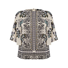 Buy Oasis Willow Scarf Print Fluted Sleeve Top, Multi/White Online at johnlewis.com