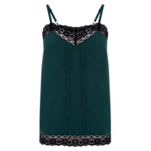 Buy Oasis Lace Trim Lingerie Camisole, Deep Green Online at johnlewis.com