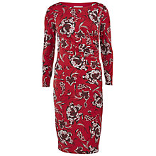 Buy Gina Bacconi Floral Print Ruched Dress, Dark Red Online at johnlewis.com