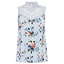 Buy Oasis Lace High Neck Top, Multi/Blue Online at johnlewis.com