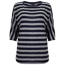 Buy Phase Eight Saskia Stripe Slub Top, Navy/Grey Online at johnlewis.com