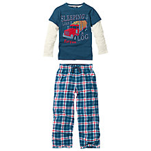 Buy Fat Face Boy's Check Pyjama Set, Blue Online at johnlewis.com
