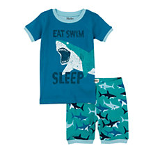 Buy Hatley Boys' Shark Print Shortie Pyjamas, Blue Online at johnlewis.com