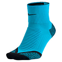 Buy Nike Elite Cushion Quarter Crew Women's Running Socks, Blue Online at johnlewis.com