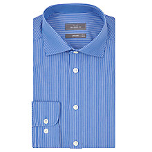 Buy John Lewis Poplin Fine Stripe Tailored Shirt, Blue Online at johnlewis.com