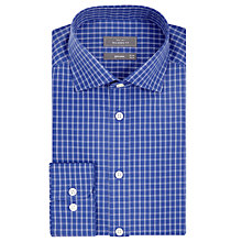Buy John Lewis Cotton Poplin Shadow Check Tailored Shirt, Navy Online at johnlewis.com