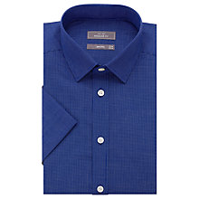 Buy John Lewis Cotton Linen Hairline Check Short Sleeve Shirt, Navy Online at johnlewis.com