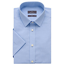Buy John Lewis Cotton Linen Fine Check Short Sleeve Shirt, Blue Online at johnlewis.com