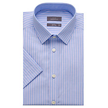 Buy John Lewis Cotton Linen End on End Stripe Short Sleeve Shirt, Blue/Pink Online at johnlewis.com