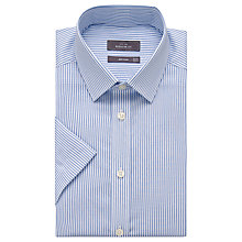 Buy John Lewis Cotton Linen Twill Stripe Short Sleeve Shirt, White/Blue Online at johnlewis.com