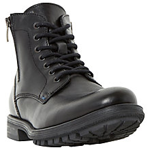 Buy Bertie Cedar Double Zip and Lace Up Leather Boots, Black Online at johnlewis.com