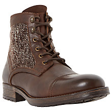 Buy Bertie Coffee Cup Woolen Panel Toecap Boots, Brown Online at johnlewis.com