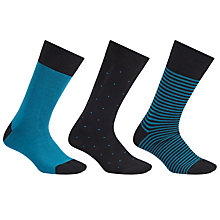 Buy John Lewis Bamboo Socks, Pack of 3, Blue Online at johnlewis.com