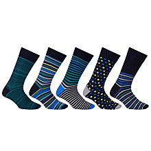 Buy John Lewis Multi Design Socks, Pack of 5, Blue Online at johnlewis.com