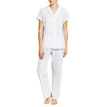 Buy John Lewis Broderie Anglaise Pyjama Set, White Online at johnlewis.com